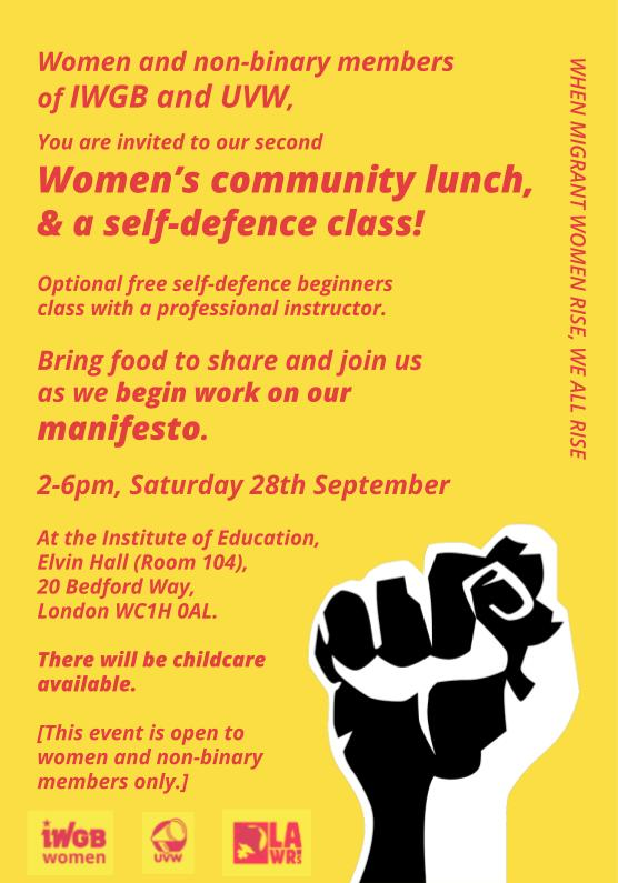 Flyer for the Women's Community Lunch|IWGB